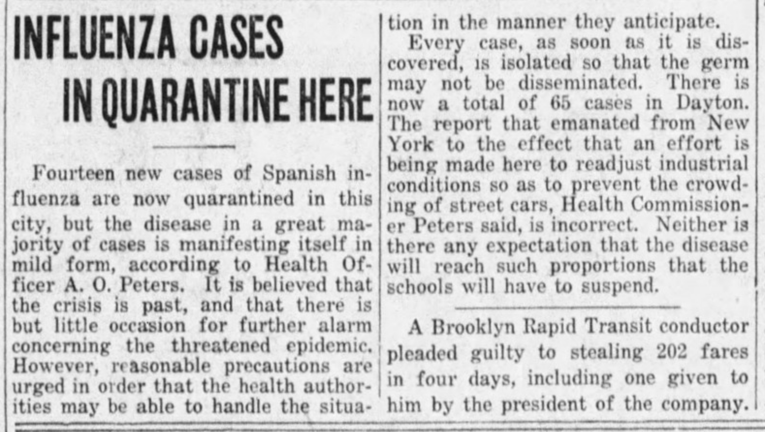 Oct 4, 1918, news story on the flu from the Dayton Daily News