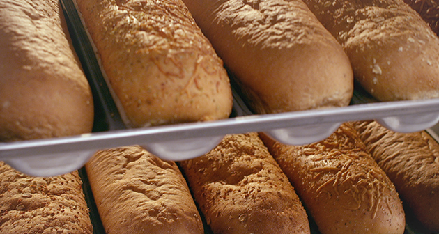 Subway bread rolls in oven